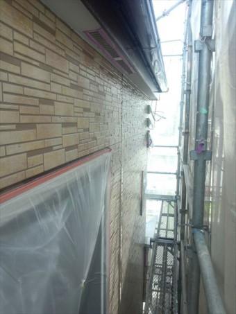 外壁クリアー塗装上塗り後