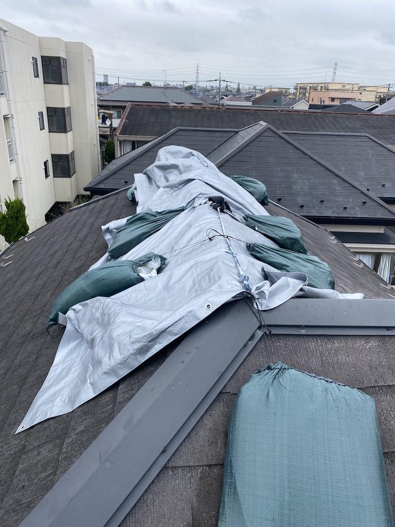 春日部市/突風により飛んでしまった棟板金の取り付け工事を行いました!