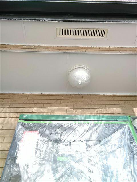 軒天塗装上塗り後