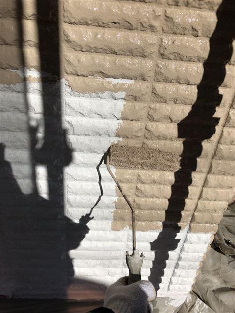 ベランダ外壁中塗り