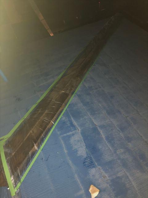 屋根棟板金応急処置