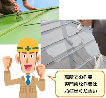 屋根塗装をしている様子